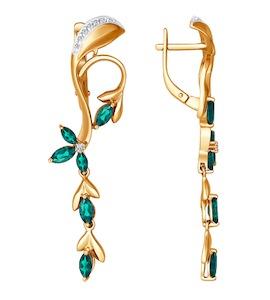 Серьги длинные из золота c изумрудами и бриллиантами «Ветвь» 3020299