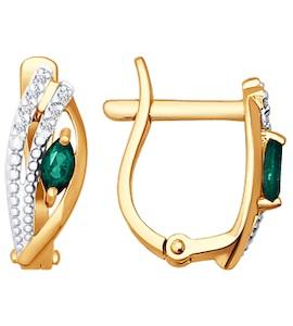 Серьги из золота с бриллиантами и изумрудами 3020394
