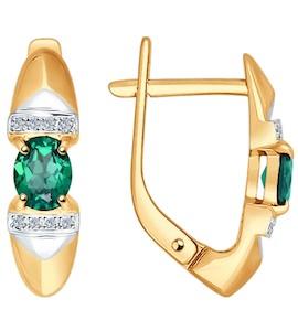 Серьги из золота с бриллиантами и изумрудами 3020421