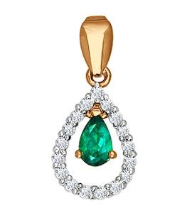 Подвеска из золота с бриллиантами и изумрудом 3030018