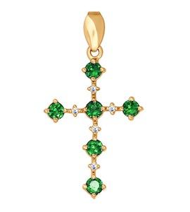 Декоративный крест с изумрудами и бриллиантами 3120008