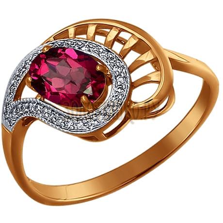 Кольцо из золота с бриллиантами и рубином 4010518