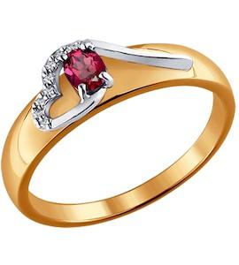 Кольцо из комбинированного золота с бриллиантами и рубином 4010601