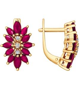 Серьги-цветы из золота c тремя бриллиантами и рубинами 4020045