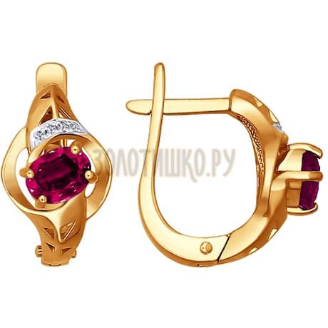 Женские золотые серьги украшенные бриллиантами и рубином 4020298