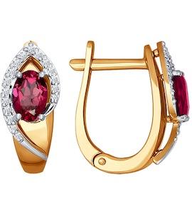 Серьги из комбинированного золота с бриллиантами и рубинами 4020358
