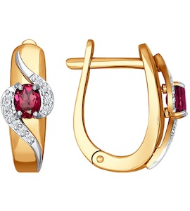 Серьги из комбинированного золота с бриллиантами и рубинами 4020361