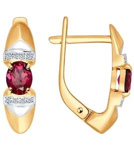 Серьги из золота с бриллиантами и рубинами 4020377