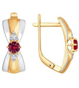 Серьги из золота с бриллиантами и рубинами 4020378