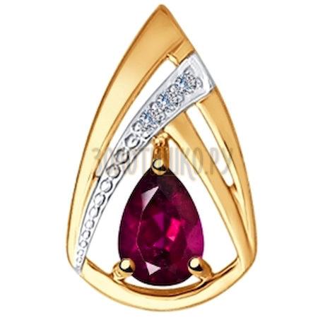Подвеска из золота с бриллиантами и рубином 4030109