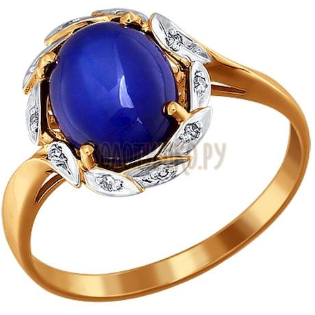 Кольцо из золота с бриллиантами и сапфиром 6011001