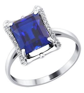 Кольцо из белого золота с бриллиантами и корундом сапфировым (синт.) 6012008