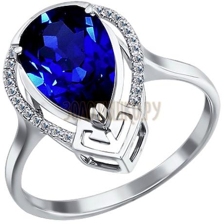 Кольцо из белого золота с бриллиантами и корундом сапфировым (синт.) 6012010