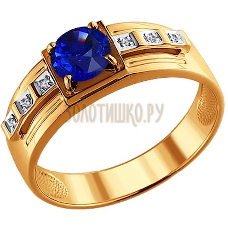 Печатка из золота с бриллиантами и корундом сапфировым (синт.) 6012023