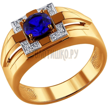 Печатка из золота с бриллиантами и корундом сапфировым (синт.) 6012024