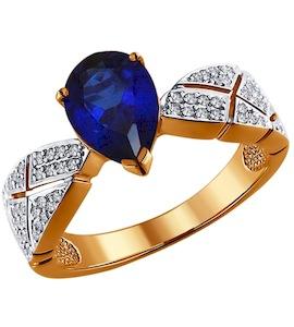Кольцо из золота с бриллиантами и корундом сапфировым (синт.) 6012033