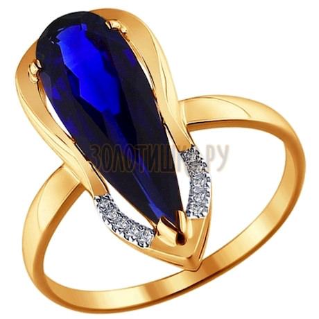 Кольцо из золота с бриллиантами и корундом сапфировым (синт.) 6012038