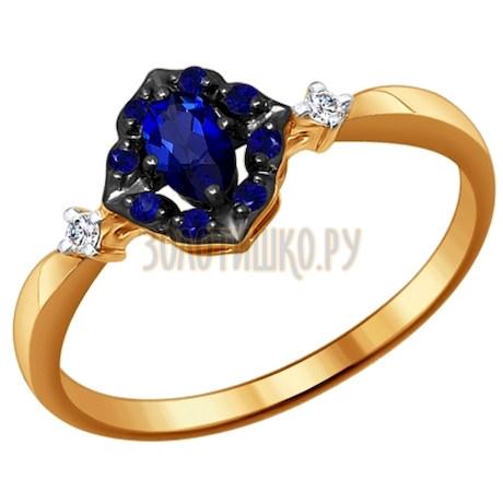 Кольцо из золота с бриллиантами и корундами сапфировыми (синт.) 6012041