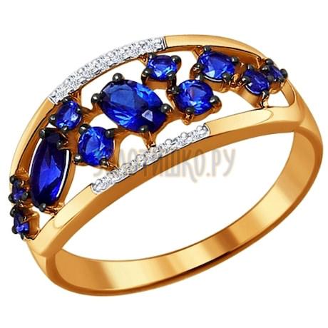Кольцо из золота с бриллиантами и корундами сапфировыми (синт.) 6012042