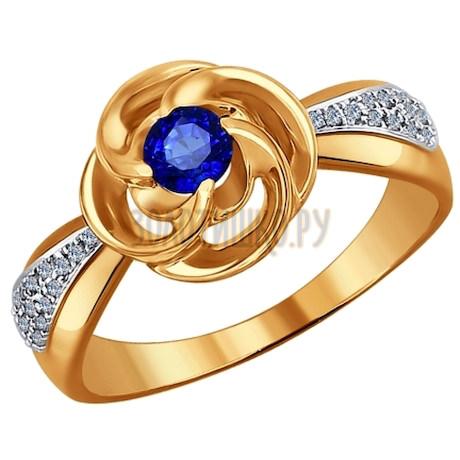 Кольцо из золота с бриллиантами и гидротермальным сапфиром 6012057