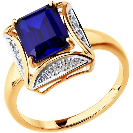 Кольцо из золота с бриллиантами и корундом сапфировым (синт.) 6012068