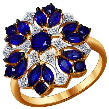 Кольцо из золота с бриллиантами и корундами сапфировыми (синт.) 6012072