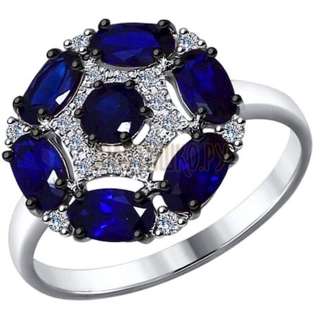 Кольцо из белого золота с бриллиантами и корундами сапфировыми (синт.) 6012078