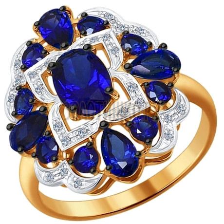 Кольцо из золота с бриллиантами и корундами сапфировыми (синт.) 6012079
