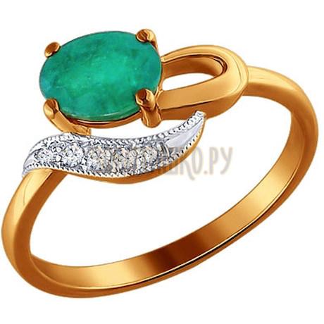 Кольцо из золота с бриллиантами и хризопразом 6013017