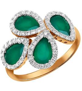 Золотое кольцо с хризопразами обрамлёнными бриллиантами 6013021