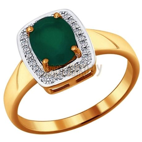 Кольцо из золота с бриллиантами и зелёным агатом 6013022