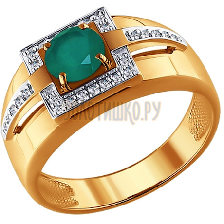 Печатка из золота с бриллиантами и зелёным агатом 6013042