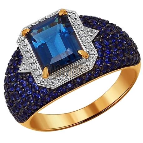 Кольцо из золота с миксом камней 6014043