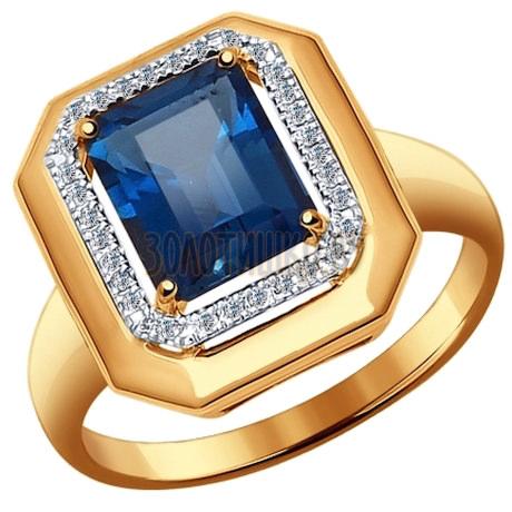 Кольцо из золота с бриллиантами и топазом 6014047