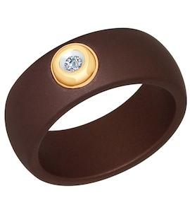 Кольцо из керамики с золотом и бриллиантом 6015017