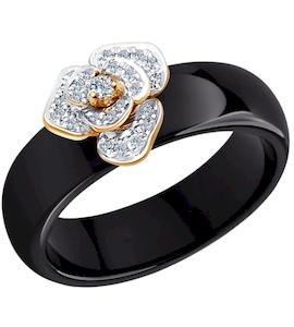 Кольцо из золота с бриллиантами и чёрными керамическими вставками 6015021