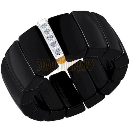 Чёрное керамическое кольцо с золотом и бриллиантами 6015022