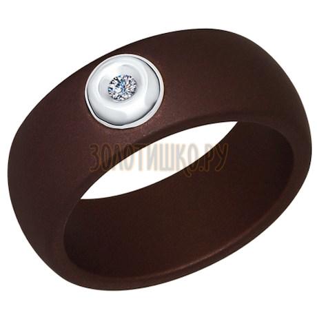 Кольцо из белого золота с бриллиантами и керамическими вставками 6015037
