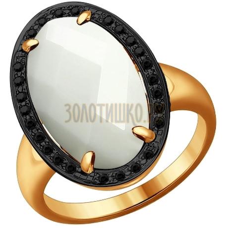 Кольцо из золота с чёрными бриллиантами и керамической вставкой 6015040