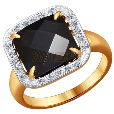 Кольцо из золота с бриллиантами и чёрным керамической вставкой 6015041