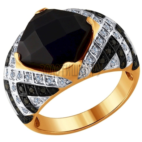 Кольцо из золота с бриллиантами и чёрным керамической вставкой 6015048