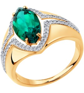 Кольцо из золота с бриллиантами и гидротермальным изумрудом (синт.) 6017006