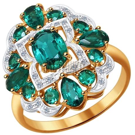 Кольцо из золота с бриллиантами и гидротермальным изумрудом (синт.) 6017013