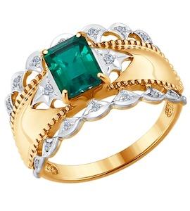 Кольцо из золота с бриллиантами и гидротермальным изумрудом (синт.) 6017016