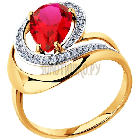 Кольцо из золота с бриллиантами и корундом рубиновым (синт.) 6018002