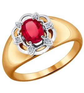 Кольцо из комбинированного золота с бриллиантами и корундом рубиновым (синт.) 6018004