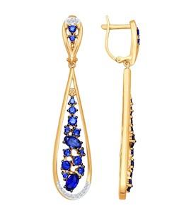 Серьги длинные из золота с бриллиантами и корундами сапфировыми (синт.) 6022033