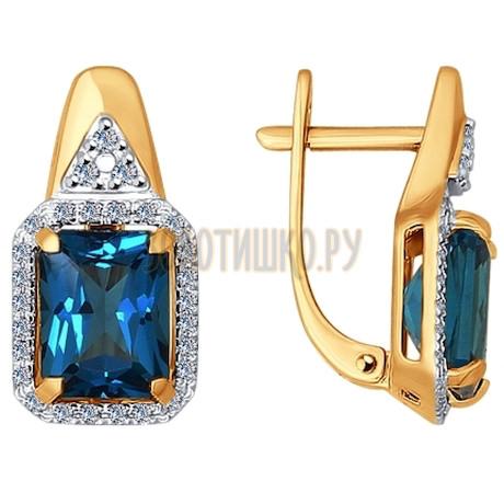 Серьги из золота с бриллиантами и топазами 6024039
