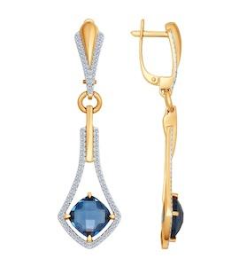 Серьги длинные из золота с бриллиантами и топазами 6024044
