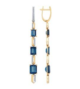 Серьги длинные из золота с бриллиантами и топазами 6024045
